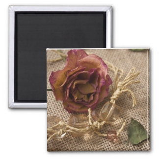 necklace and dried rose magnet