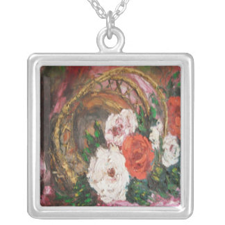 Necklace Ann Hayes Painting Flower Basket