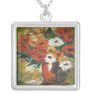 Necklace Ann Hayes Painting Red Flowers Mixed