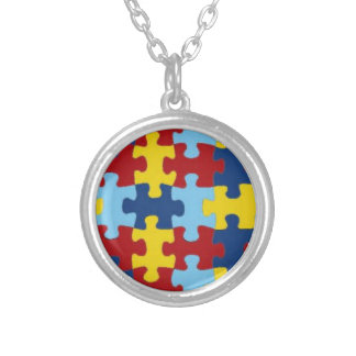 Necklace(Autism Puzzle) Round Pendant Necklace