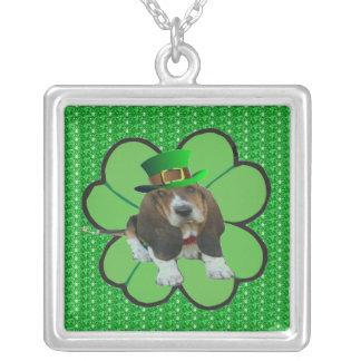Necklace Basset Hound Happy St Patrick's Clover