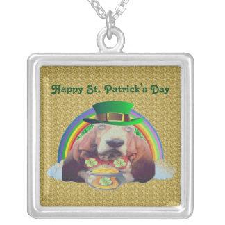 Necklace Basset Hound Happy St Patrick's Day