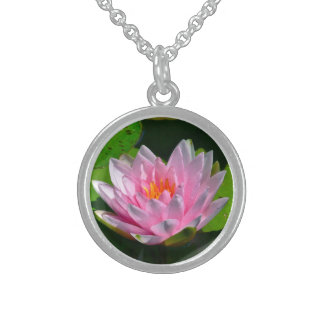Necklace, Beautiful Pink Lotus Flower Round Pendant Necklace