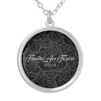 Necklace Black & Silver Roses-Families Are Forever