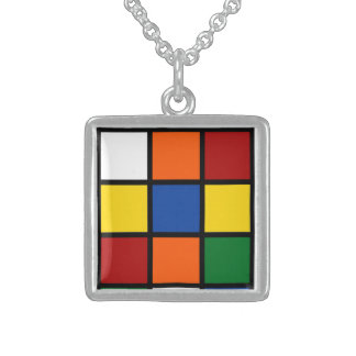 "Necklace/Charm ""Squared "" Sterling Silver Necklace"