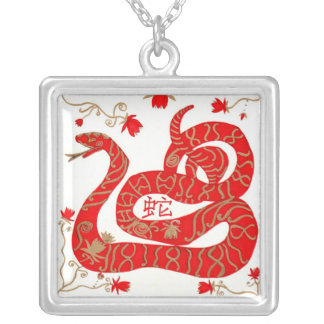 Necklace, Chinese New Year Snake Square Pendant Necklace