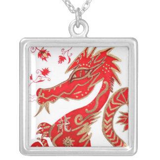 Necklace, Chinese Zodiac Dragon Square Pendant Necklace