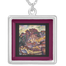 Necklace-Classic Art-Georges Braque-Large Trees Silver Plated Necklace