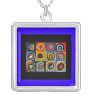Necklace-Classic Art-Kandinsky-Squares Square Pendant Necklace