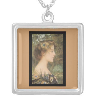 Necklace-Classic Art-Maxence-Peacock Side Profile Square Pendant Necklace