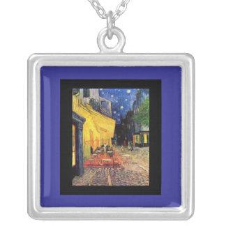 Necklace-Classic Art-Van Gogh Cafe Terrace Square Pendant Necklace