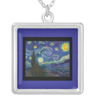 Necklace-Classic Art-Van Gogh-Starry Night Silver Plated Necklace