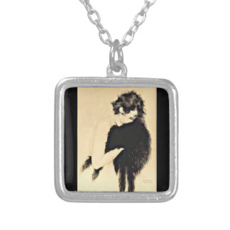 Necklace-Classic/Vintage Art-Raphael Kirchner-20 Silver Plated Necklace