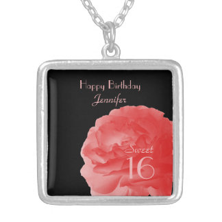 Necklace Coral Rose 16th Birthday Sweet 16 Custom Square Pendant Necklace