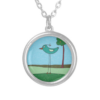 Necklace, Cute Bird and Tree Silver Plated Necklace