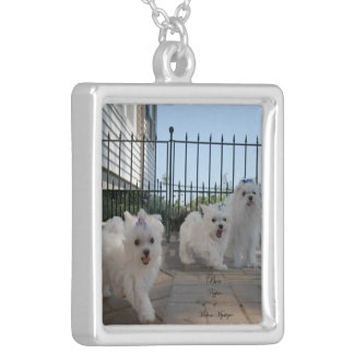 Necklace; Cute Maltese Dogs and Puppies Square Pendant Necklace
