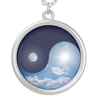 Necklace:  Day and Night Ying Yang Round Pendant Necklace