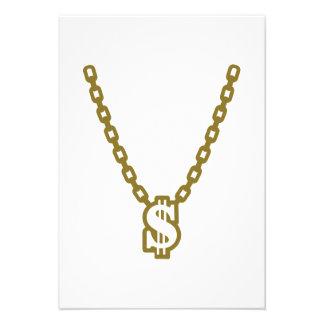 Necklace dollar personalized invitation