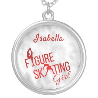 Necklace Figure skating girl red silver