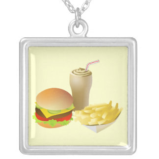 Necklace-Food/Drink-32 Square Pendant Necklace