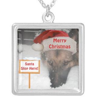 Necklace German Shepherd Santa Stop Here Sign