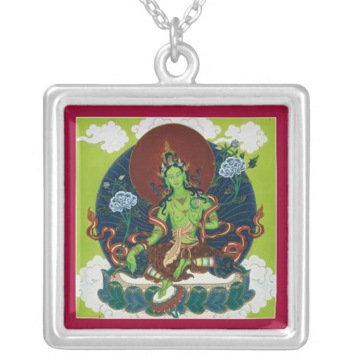 NECKLACE Green Tara silver with pendant