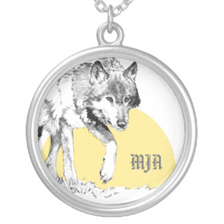 Necklace Initials Template - Wolf
