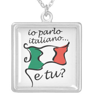 Necklace: Io parlo Italiano Square Pendant Necklace