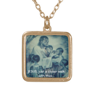 Necklace; Jesus Closer walk with Thee Square Pendant Necklace