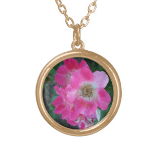 Necklace Jewelry Gold, Pink Bush Rose