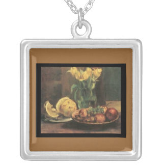 Necklace-Louis Corinth-Apples,Tulips, & Grapes Silver Plated Necklace