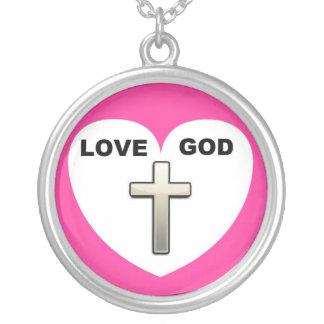 Necklace Love God Heart Cross Pink