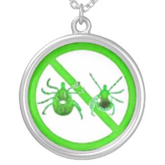 Necklace, Lyme Disease Tick Awareness, Green Ticks Round Pendant Necklace