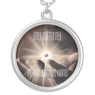 Necklace: My Identity, A Pearl in god hand Round Pendant Necklace