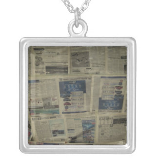 Necklace-Newspaper Square Pendant Necklace