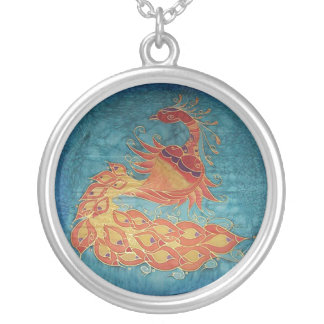 Necklace: Peacock Silk Painting Round Pendant Necklace