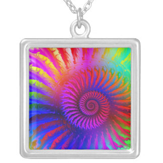 Necklace - Psychedelic Fractal pink red purple