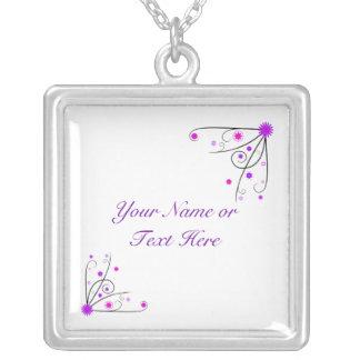 Necklace - Purple & Pink Flower Swirl
