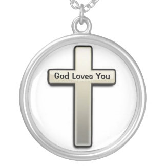 Necklace Silver Cross God Loves You