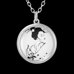necklace,silver,geisha,japan silver plated necklace