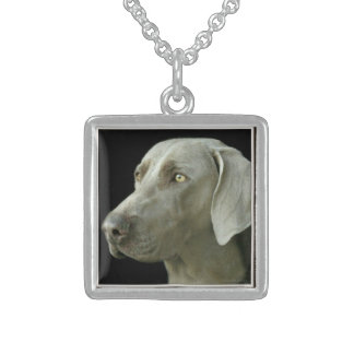 Necklace Square Sterling Silver Weimaraner Head