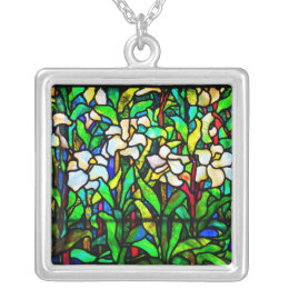 Necklace-Stained Glass-Tiffany 15 Silver Plated Necklace