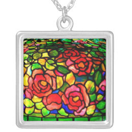 Necklace-Stained Glass-Tiffany 17 Silver Plated Necklace