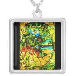 Necklace-Stained Glass-Tiffany 3 Silver Plated Necklace