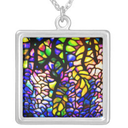 Necklace-Stained Glass-Tiffany 4 Silver Plated Necklace