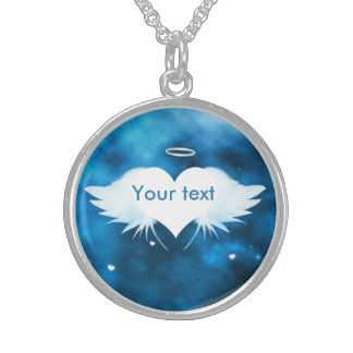 Necklace Sterling Silver - Angel of the Heart Round Pendant Necklace