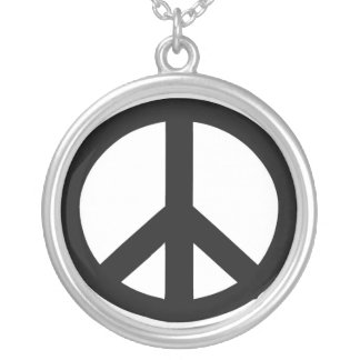 Necklace: Sterling Silver Peace Sign Necklace. Silver Plated Necklace