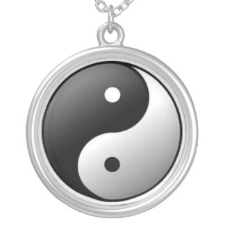 Necklace: Sterling Silver Plate Ying Yang Symbol Round Pendant Necklace