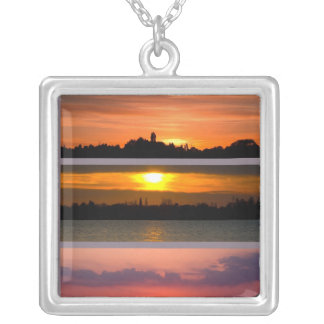 Necklace - Sunset Strips purple pink orange yellow