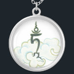 """NECKLACE Tam - Seed syllable Green and White Tara<br><div class=""""desc"""">Green Tara, the female manifestation of active compassion, reaches out her hand to grant all wishes and, with her right foot outstretched, she is ready to step down and help all who call upon her. Tara is one of the most revered deities in Tibetan Buddhism and there are numerous stories...</div>"""